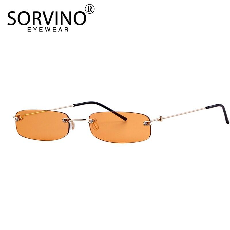 SORVINO Small Orange Rimless Rectangle Sunglasses 2018 Men Women 90s Designer Tiny Narrow Frameless Tint Sun Glasses Shades SP40