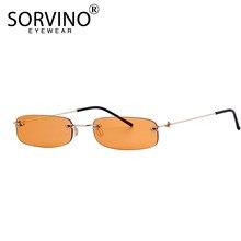 b97fd63c8 SORVINO البرتقال الصغيرة بدون شفة مستطيل النظارات الشمسية 2018 الرجال  النساء 90 s مصمم صغيرة ضيق فرملس تينت نظارات شمسية ظلال SP.