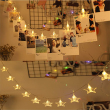 1.5M 3M 6M Photo Card Clip Fairy LED String Light Five-pointed Star Christmas Wedding Party Bedroom Holiday Decoration Garlands
