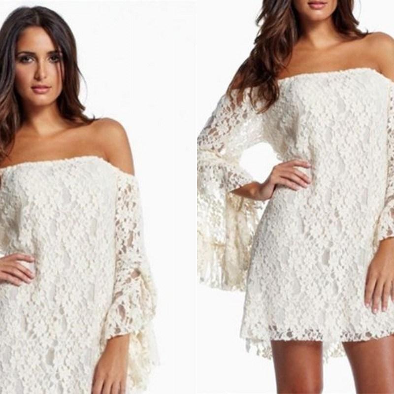 Robe de soiree en dentelle blanche