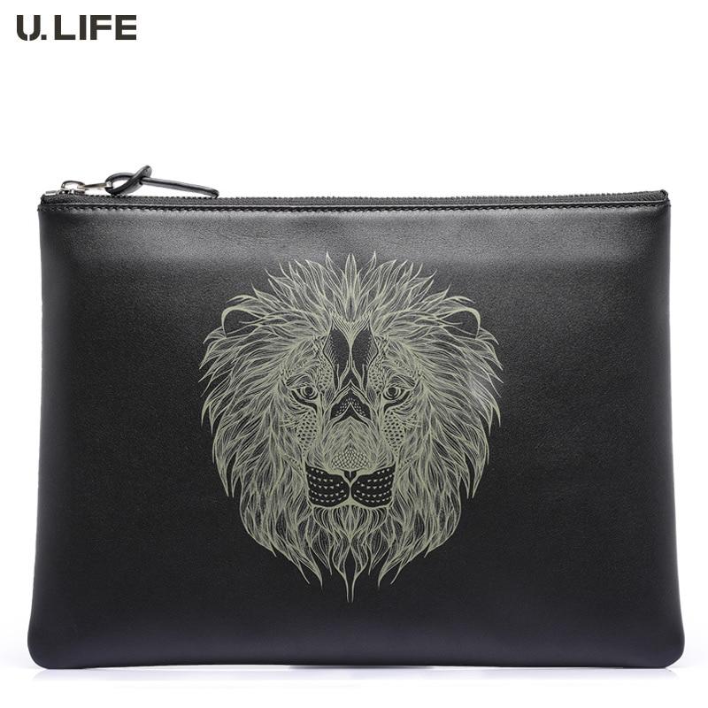 U.LIFE - High-end topmode Lion Totems Designer Gurantted Kwaliteit Individueel Zacht Leer Polsbandje Heren Handtassen voor iPad J50