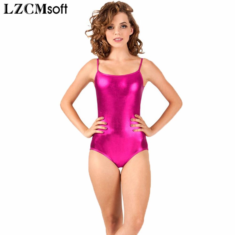 LZCMsoft Adult Shiny Camisole Gymnastics Leotard Women's Sleeveless Metallic Leotards For Dancers Sexy Tank Tops Backless Design