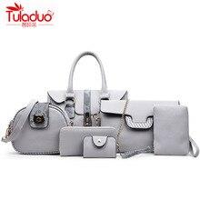 TULADUO Brand 2017 New Luxury Women Bag 6 Pieces Set Panelled Alligator Mix Serpentine Print Handbag