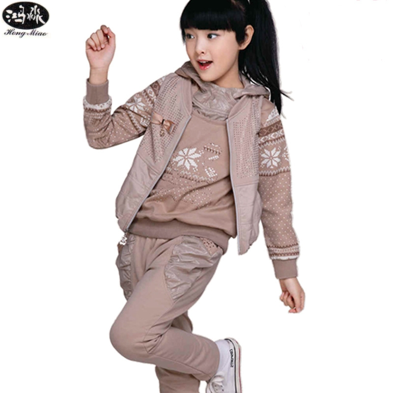 ФОТО 2017 New Fasion Spring Autumn Children's Sets Casual Hooded Print Clothing Long Sleeve 3 Pieces Girl Clothes