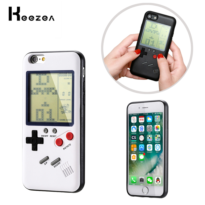 Keezea Game boy Tetris Case For iPhone X 8 7 6 Classic Gameboy Console Cover Protective TPU Case For X 8 8P 7 7P 6 Fitted Case