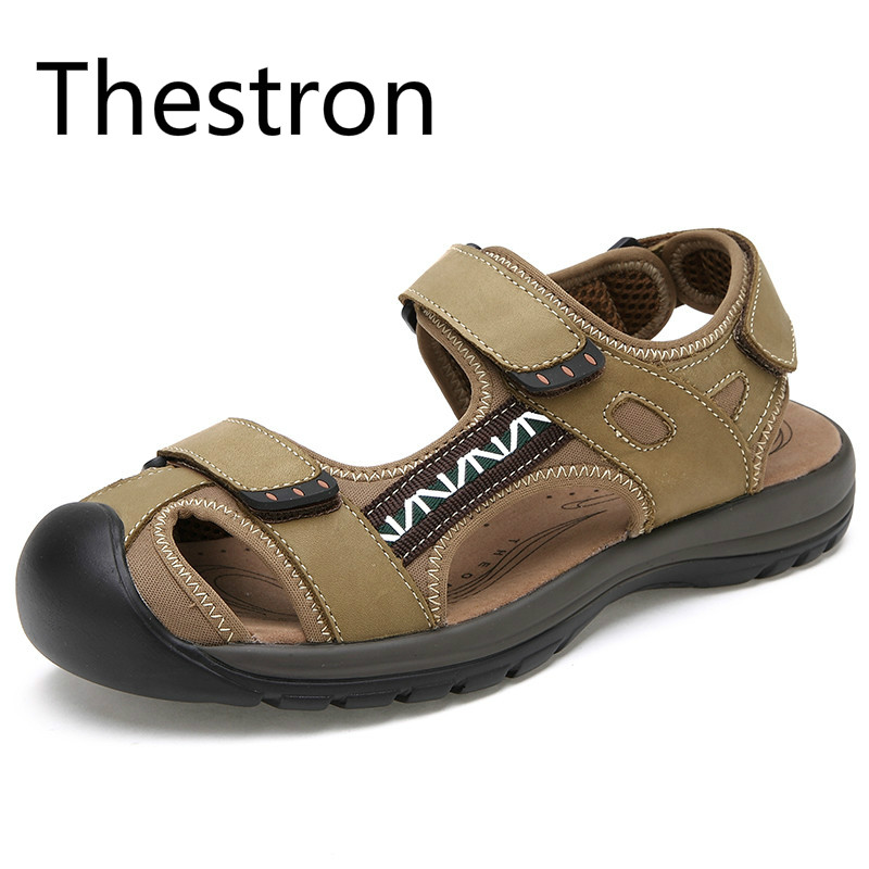 Thestron Sandals Mens Sandals Genuine Leather Big Size 45 Beach Shoes Men New Sandals Men Summer Shoes Casual Leather Beach