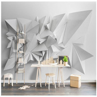 Custom Any Size Modern Wall Paper Background White Geometric Origami Art Wall Covering Restaurant Home Decor