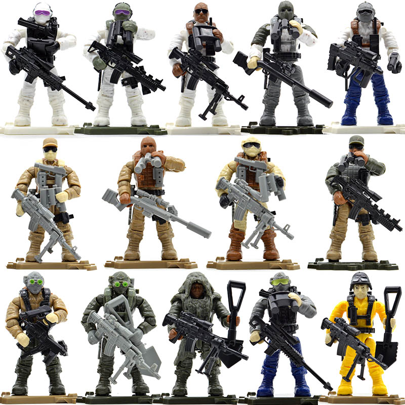 Set Game Army Soldiers Duty Military Series with Weapons Call Telescope Building Blocks Bricks Toys for Children цена