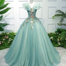 J дневной свет зеленый вышитая бальное платье средневековое платье эпохи Возрождения queen костюм викторианское платье Мари Антуанетта/Belle мяч