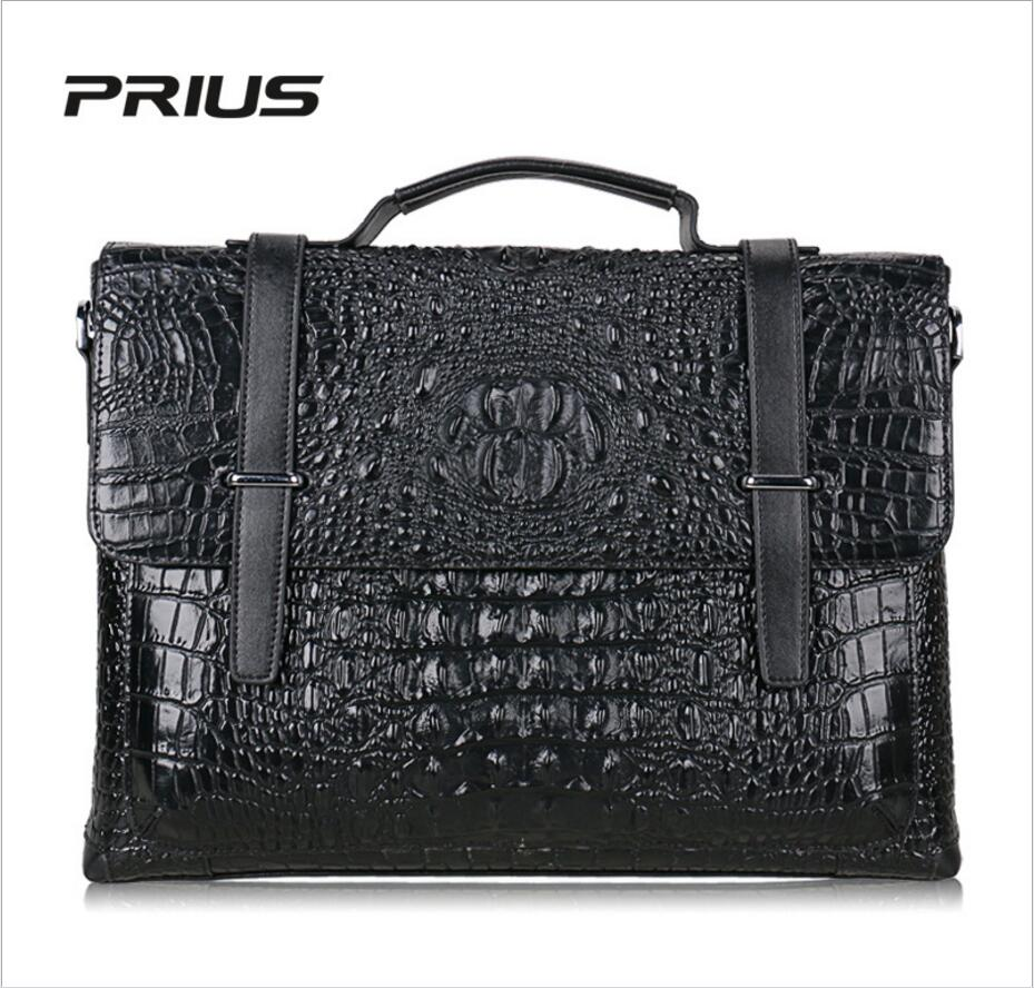 PRIUS 2017 New Crocodile Pattern Head Layer Leather Men Bag Handbag Men Shoulder Diagonal Cross Package Pure Leather Briefcase 2018 new crocodile pattern female large bag the first layer of leather luxury women s rectangular shoulder bag diagonal package