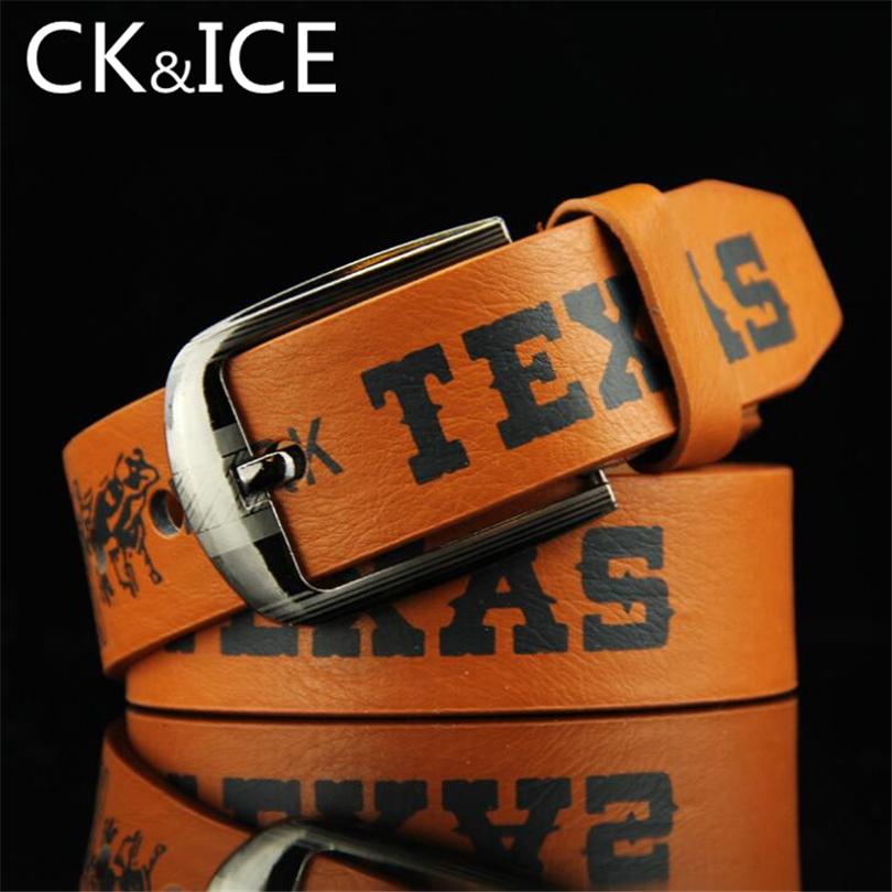 CK&ICE New Fashion Vintage Leather Belt Men Women  Letter Printing Pattern Men Women Strap Casual Belt Cintura In Pelle