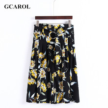 GCAROL 2017 Women Euro Style Big Floral Skirt With Belt Pleated Draped Design Long Skirt For Summer Spring Autumn