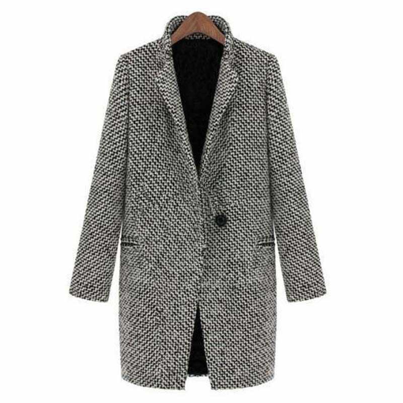 秋の冬の女性のウールブレンドコートオーバーターンダウン襟長袖ジャケット生き抜くプラスサイズ 4XL YF71