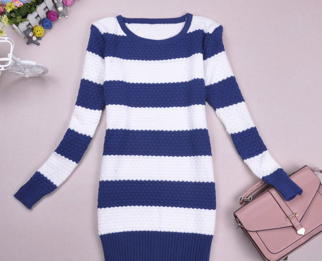 2016 New Women Autumn striped Pullover sweater  Female O-neck casual sweater