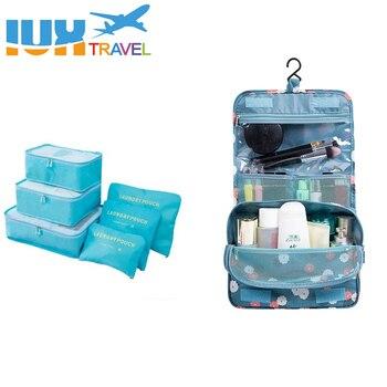 7 pcs/set Nylon packing cube large capacity double zipper Waterproof bag Luggage Clothes Tidy Organizer Nylon Folding Bags Travel Bags & Luggage