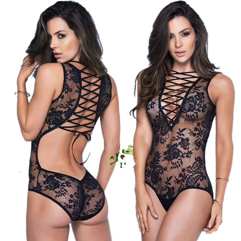 Sexy lace bandage Lingerie Erotic Teddy Underwear body suit <font><b>sex</b></font> Costume dress backless sleepwear woman bondage clothes <font><b>catsuit</b></font> image