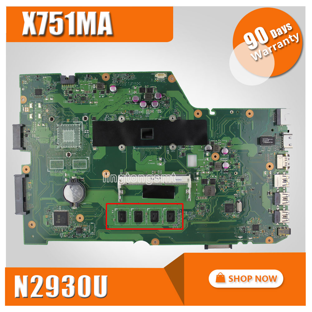 for ASUS X751MA motherboard X751MD REV2.0 Mainboard Processor N2930 4G Memory On Board Original for asus x751ma motherboard x751md rev2 0 mainboard processor n3530u 2g memory on board fully tested