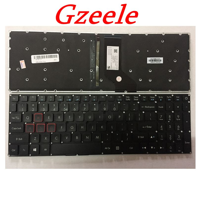 GZEELE New For Acer Aspire VX 15 VX15 VX5-591G VX5-591 VX5-793 VN7-593 VN7-793 VN7-793G Backlit Keyboard US English BLACK