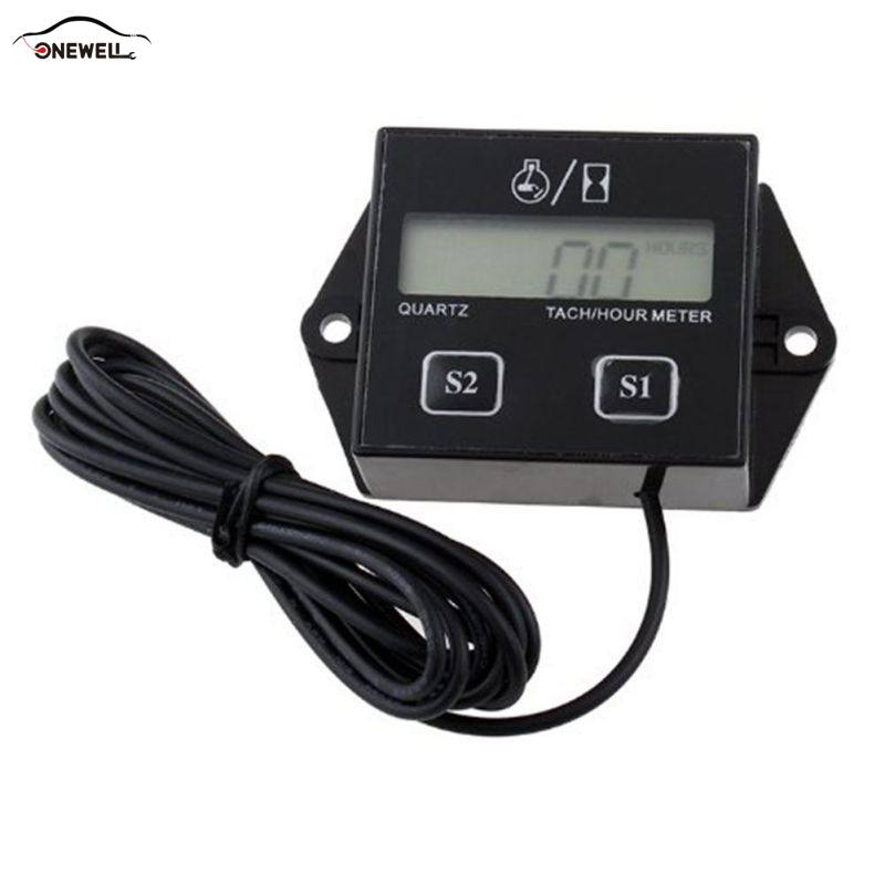ONEWELL Digital Display Tachometer Engine Tach Hour Meter Gauge Inductive Car Stroke Engine LCD Display For Car Motor Boat