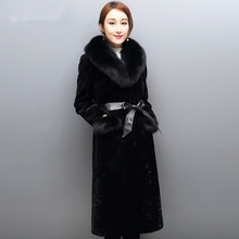 Winter Fashion Long style Lady suit natural Fox Collar Genuine leather Inner container Sheepskin Thickening Plush Cold resistant