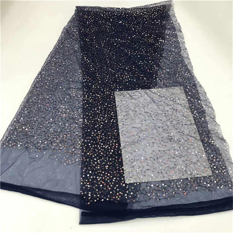 Złoty cekinowy, afrykański francuski siateczkowy materiał koronki netto dla indii suknia wieczorowa tkaniny 2019 nowy Nigeria cekiny woal różowy niebieski