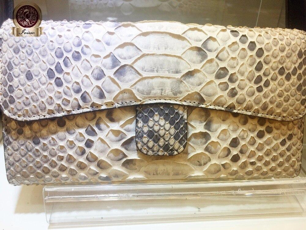 Véritable Peau de Serpent Long Femmes Portefeuille Célèbre Designer Style Triple D'embrayage. Sortie