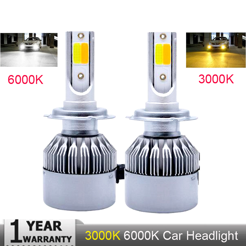 Super Bright Car Headlights H7 LED H4 led H8/H9/H11 HB3/9005 <font><b>HB4</b></font>/9006 Auto <font><b>Bulb</b></font> 72W 8000LM Automobiles Headlamp Dual <font><b>3000K</b></font> 6000K image
