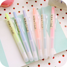 6 pcs Natural Fluorescent color highlighter pen 5mm Knock type  marker pens Non-toxic Stationary Office School supplies FB844
