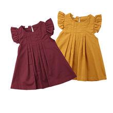 Новинка г.; Лидер продаж; Летние однотонные короткие винтажные платья принцессы двух цветов с рукавами-крылышками; От 0 до 3 лет