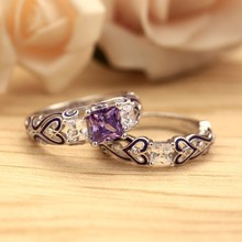 European Square Crystal Engagement Wedding Ring for Women Purple/Red Gems Enamel Sets Ring for Anniversary Party Jewelry