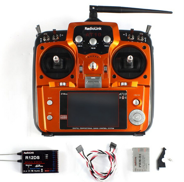 RadioLink AT10 II 2.4Ghz 10CH RC Transmitter with R10DII Receiver PRM-01 Voltage Return Module Battery for RC Quadcopter