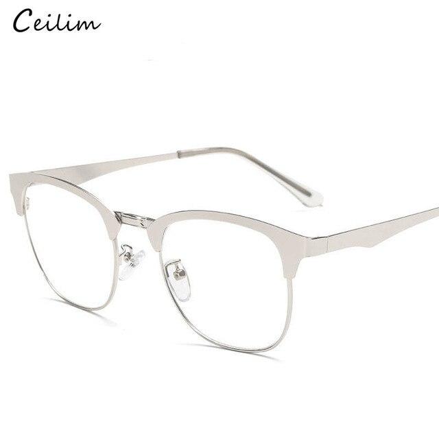 a4b9295770 Fashion Square Spectacle Frames Women Transparent Oculos Clear Lens Fake  Glasses Vintage Half Frame Metal Eyewear