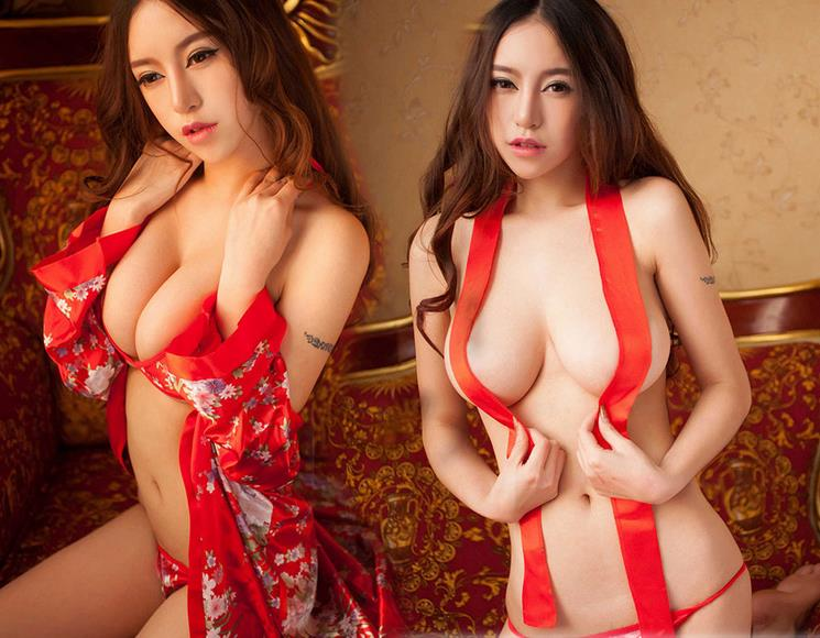 WAHO Hot Sexy Red Lingerie XXL Women Babydoll Sexy Print Japanese Kimono Robe Erotic Costumes Women
