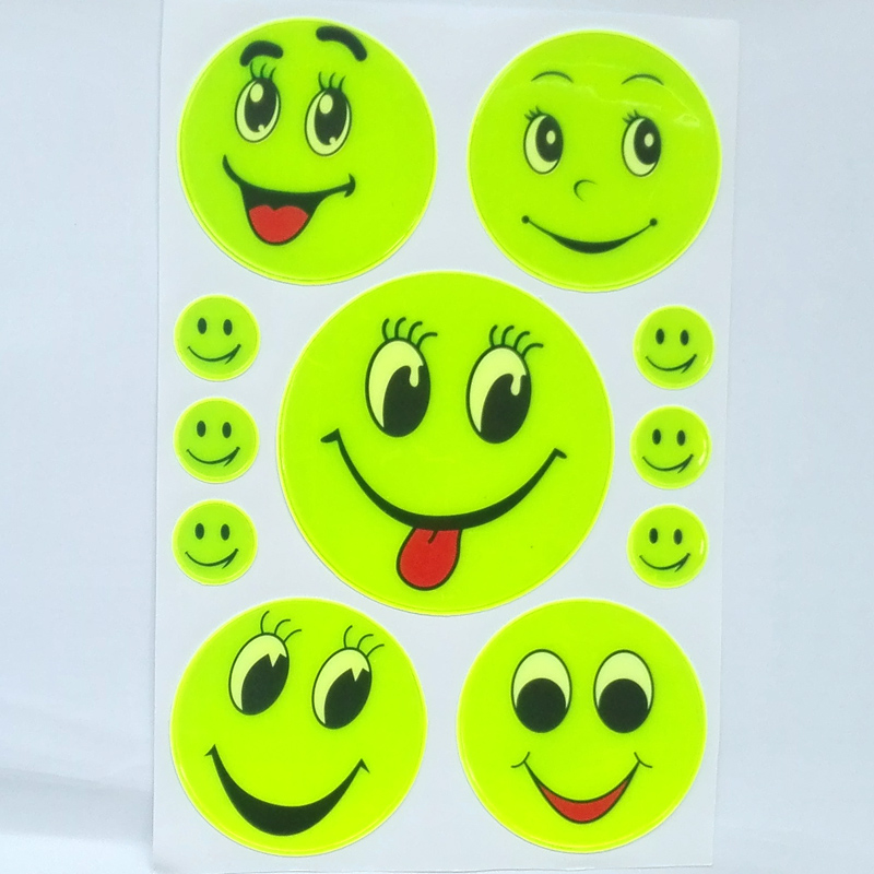 1 Sheet, Reflective sticker smile face for motorcycle,bicycle,kids toy,bag,trolly any where visible safety 2pcs more 20% off