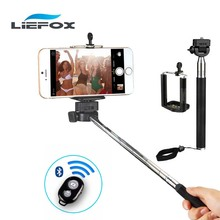 Монопод selfie палка телескопическая выдвижная ручной bluetooth + беспроводной пульт дистанционного держатель мобильного телефона для ios android phone