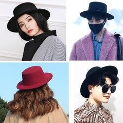 Винтажная черная фетровая шляпа с широкими полями, фетровые шляпы для мужчин и женщин, Черные Мужские фетровые шляпы
