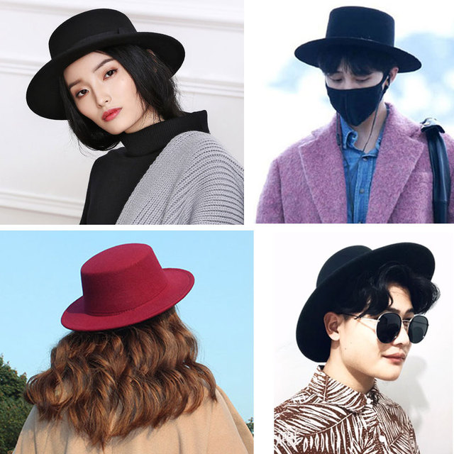 vintage wide brim black fedora hat pork pie hat men ladies felt hats men women  black df66da452a1