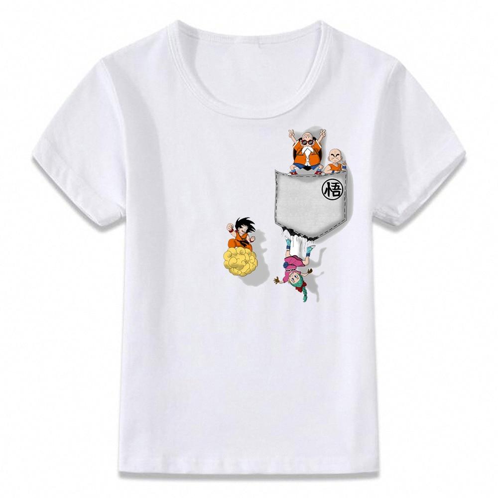 Kids T Shirt Dragon Ball Z Goku Bulma Krillin Master Roshi Pocket Tee Children T-shirt For Boys And Girls Toddler Shirts Oal155