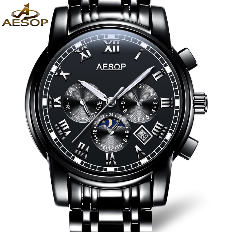 AESOP Brand Fashion Watch Men Automatic Mechanical Wristwatch Waterproof Stainless Steel Male Clock Relogio Masculino Hodinky 27 aesop brand fashion watch men automatic mechanical wristwatch hollow waterproof tungsten steel male clock relogio masculino 46