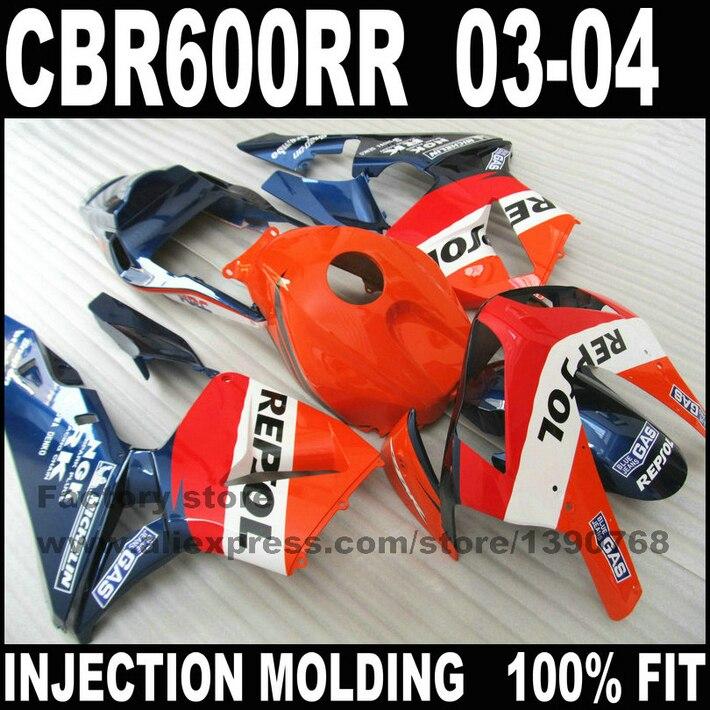 Custom injeção carenagens kit para CBR 600 RR 03 04 CBR600RR 2003 2004 orange azul kits de carenagem repsol bodyworks