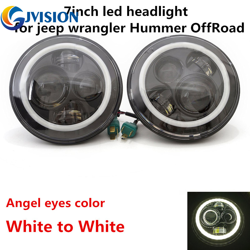 DOT 80W Auto Parts Halo 12V LED Car Headlight Angel eyes 7 inch Round Hi/Lo H4 Headlight for Jeep Wrangler JK TJ Hummer Defender duckdog 70035