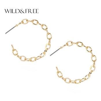 b1ae12fff4d1 Salvaje y libre de las mujeres de la moda de oro pendientes de aro grande  redondo círculo abierto pendientes Piercing