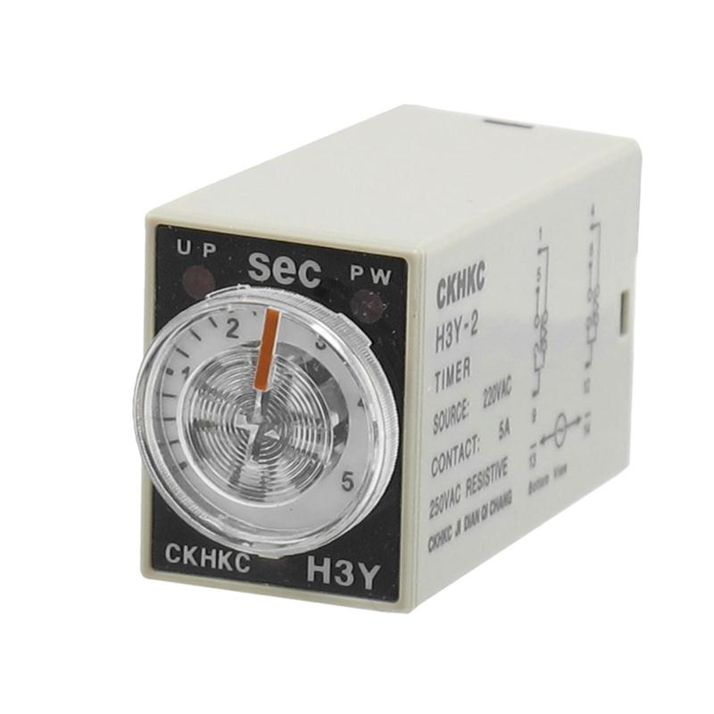AC 220V Relays 8P Terminals DPDT 5 Seconds 5S Delay Timer Time Relay H3Y-2 Or Setting Time Easily For Mechanical Equipment 1set h3y 2 ac220v delay timer time relay 0 60 seconds 220vac