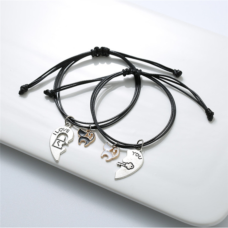 Jewelry & Accessories Gflv Fashionable Trendy Lovers Bracelet Stitched Heart Bracelet Female Lovely Cat Pendant For Romantic Vlentines Day Gift B080