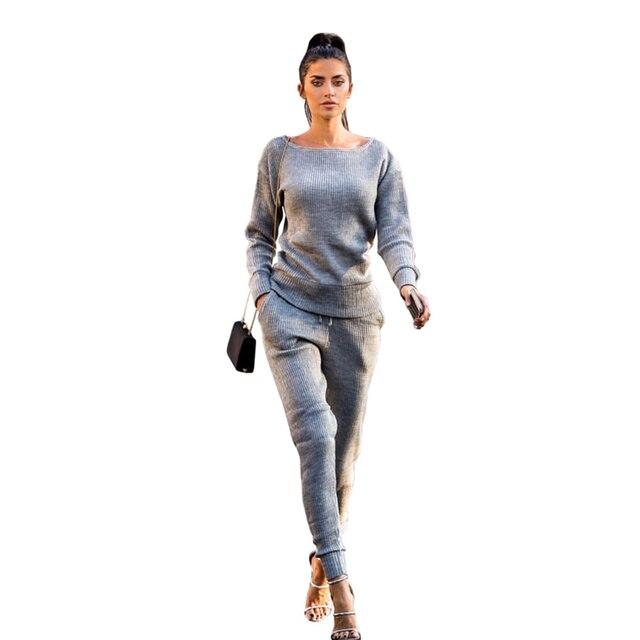 Otoño Invierno chándal manga larga Pit sudaderas traje Casual mujer ropa 2  unidades conjunto Tops + ef8f790c1e87