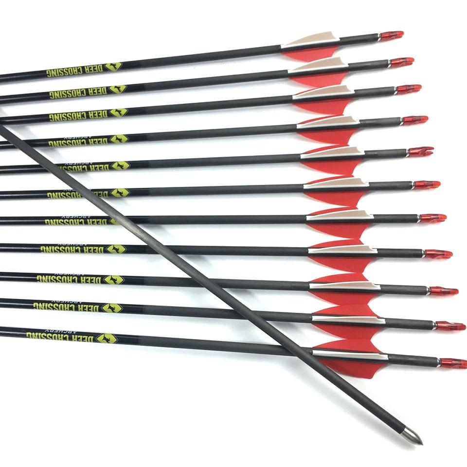 12pcs 31 inch Pure Carbon Arrow Spine 350 400 500 600 700 800 900 OD 5