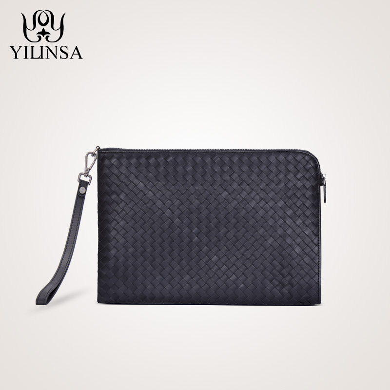 Men's Handmade Woven Wallet Ultra-thin High Capacity Purse Cow Leather Casual Calf Zipper Business Braided File Box