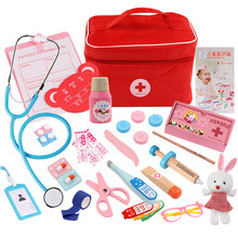 Children Pretend Play Doctor Toys Set Durable Nurse Injection Tool Wooden Simulation Medical Toys with Medicine Box Kids Gift(China)