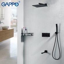 Gappo レインシャワーの蛇口黒滝のシャワーの蛇口セット壁マウント降雨シャワーミキサー蛇口ミキサー浴槽の蛇口