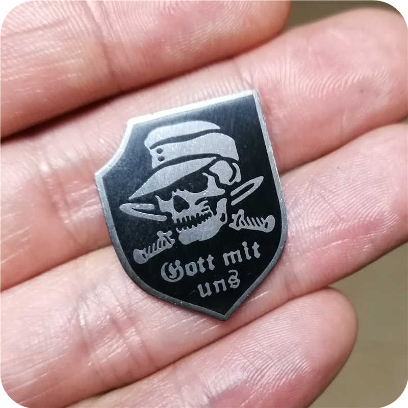 Gott mit uns (God with us) enamel pin skull knife brooch vintage silver black shield badge German wehrmacht jewelry god pin